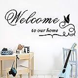 58 * 141 cm Bienvenido a nuestra casa DIY etiqueta de la pared autoadhesiva extraíble arte tatuajes de pared para sala de estar decoración de fondo pegatinas