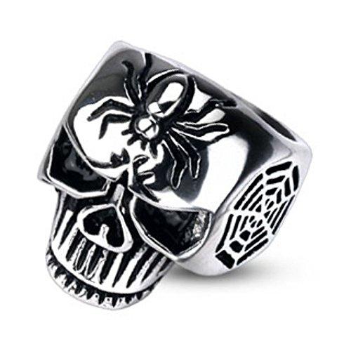 Usato, Spikes uomo ragnatela Skull cast anello in acciaio usato  Spedito ovunque in Italia