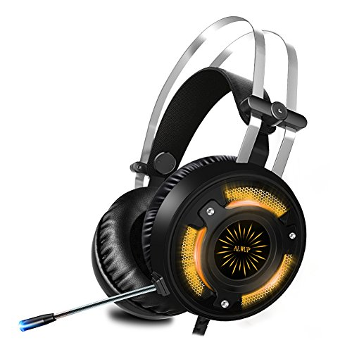 ALWUP Gaming Headset PS4,Xbox One Gaming Kopfhörer mit Mikrofon PC Game Headphones mit Bass Surround Anti-Noise und USB LED Licht für Playstation Tablet Nintendo Switch Laptop Computer Mobil
