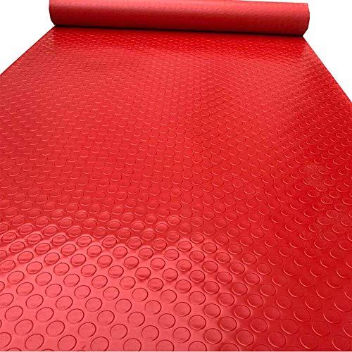 J.DT Stufenmatten Treppen-Teppich Läufer Treppenmatte Step Streads PVC Rechteck Teppiche Teppichpads Für Küche Bad Selbstklebende Anti-Rutsch-Rot 1,8 Mm (Color : A, Size : 1.2MX5M) (Treppe Läufer-gummi)