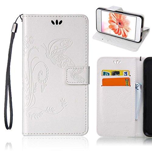 Lg Handy Optimus Für Case L70 (LG Optimus L70 (D325 MS323) Hülle, Fubaoda Erweiterte gepresste Blumen Serie PU Leder Wallet Case Hülle, Tasche Schutzhülle Handytasche Flip Case für LG Optimus L70 (D325 MS323), Weiß)