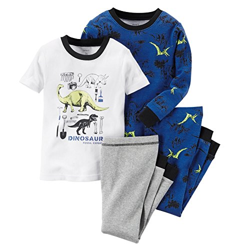 Carters Baby Kleidung Outfit Jungen 4Händen Baumwolle Pyjama Dinosaurier Fossil Expert, mehrfarbig (Kinder Carters Baumwolle)
