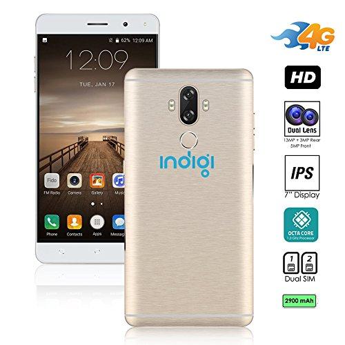 Indigi® entsperrt 4G LTE 6Android 7.0nougat Smartphone (Octa-Core 1,3GHz + Fingerabdruck Scan + 13MP Cam + Dual Sim Slots + Bluetooth 4.0) (Gold) Entsperrt Handys Tracfone