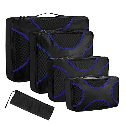 Koffer Organizer Reise Kleidertaschen, OMORC 4 Stück Wasserdichte Kofferorganizer Packtaschen Reisegepäck für Kleidung Schuhe Unterwäsche Kosmetik