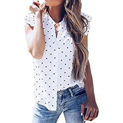 Fossen Verano Mujer Blusas sin Manga Volantes Lunar Camisetas de Baratas y Oferta Gasa Camisa de Mujer Elegantes de Fiesta (M, Blanco)