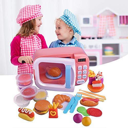Mikrowelle Spielzeug, Kinderküche Spielzeug, Küchen Mikrowelle Geschirr Spielzeug mit Licht Drehen Rollenspiel für Kinder