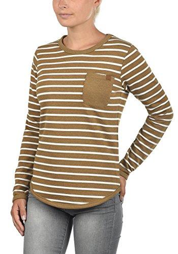 BLEND SHE Christin Damen Sweatshirt Pullover mit Streifen und Rundhals-Ausschnitt aus hochwertiger Baumwollmischung Dark Mustard
