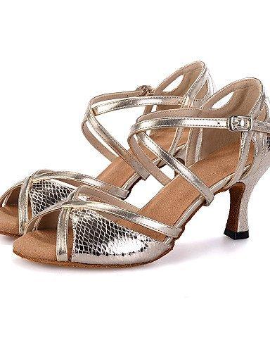 ShangYi Chaussures de Danse(Argent/Or) -Personnalisables-Talon Bobine-Similicuir-Ventre/Latine/Jazz/Baskets de Danse/Moderne/Samba/