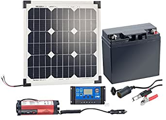 revolt solaranlage solarpanel 20 w mit akku laderegler und 230 v wandler solar set amazon. Black Bedroom Furniture Sets. Home Design Ideas
