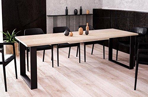 Kufentisch Esstisch Cora Sonoma Eiche ausziehbar 130cm - 210cm Küchentisch mit Kufen Design