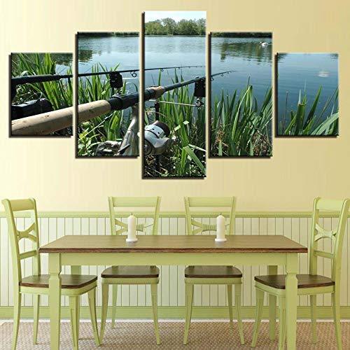 XiaoHeJD Leinwand Großes Poster HD Druck Malerei Wohnkultur 5 Panel Angelrute Landschaft Wandkunst Modulare für Wohnzimmer Abstrakte Bild-L