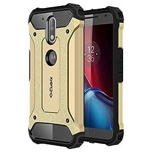 Cubix Defender-II Dual Layer Shockproof Stand Bumper Back Case Cover for Motorola Moto G4 Plus (Gold)