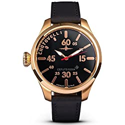 Chotovelli Luxury Pilot Men's Watch Analogue display Black leather Strap 52.04