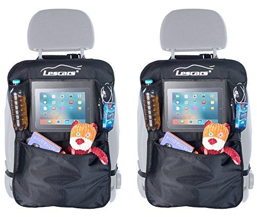 Lescars Auto-Zubehör: 2er-Set Kfz-Rückenlehnen-Organizer mit extragroßem Tablet-PC-Fach (Autoorganizer)
