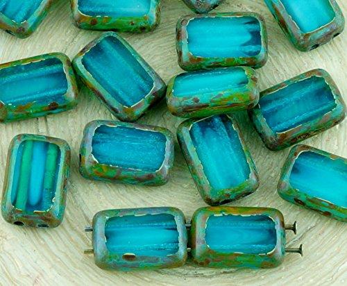 8pcs Picasso Braun Kristall Türkis Aqua Blau Mondstein Mondschein-Opal-Tabelle Cut-Wohnung 2 Zwei-Loch-Rechteck Tschechische Glasperlen 8mm x 12mm - Tschechische Kristall Gläser