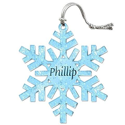 Acryl Weihnachtsbaum Urlaub Schneeflocke Ornament Namen Stecker pa-pr, Phillip
