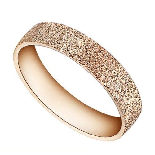 bigsoho Schmuck Edelstahl Unisex Damen-Ring Ehering Partnerring Verlobungsring Freundschaftsring Rosegold Breite: 4mm, Gr. 57 (18.1)
