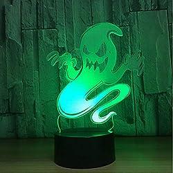 Ghost 3D Led Luz De La Noche Que Cambia La Lámpara Halloween Skull Light Acrílico 3D Holograma Ilusión Lámpara De Escritorio