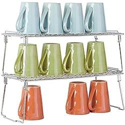 mDesign étagère pour armoire (lot de 2) - étagère en métal pliable pour la cuisine avec pieds retirables - système de rangement moderne pour la vaisselle, les conserves et les épices - argenté