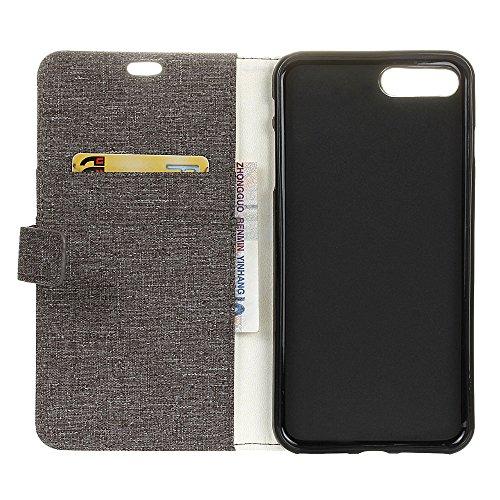 """MOONCASE iPhone 7 Coque, [Motif de Tissu] Housse en Cuir Etui à rabat pour iPhone 7 4.7"""" Portefeuille Porte-cartes TPU Case avec Béquille Rouge Marron"""