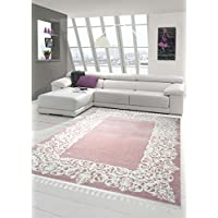 Traum Designer rug Contemporary rug Wool rug border design fringe living room carpet Pink Cream size 120x170 cm