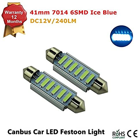 6-SMD 44MM Error Free 7014 LED Bulb For 1.74 inches Car Interior Dome Light or Trunk Area Light 12V, Ultra Blue (Pack of 2
