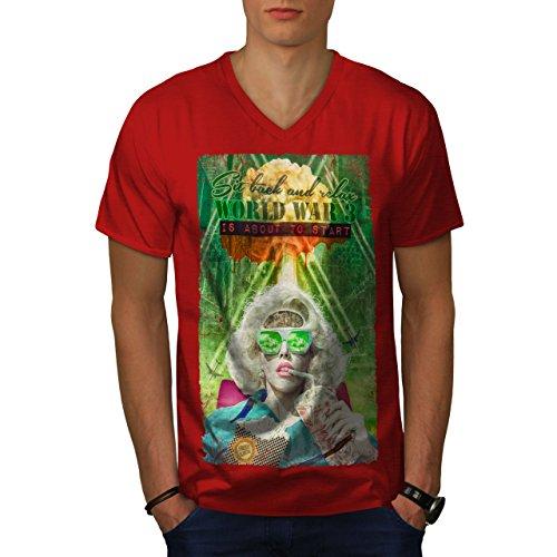 wellcoda Joystick Gaming Mode Männer 2XL V-Ausschnitt T-Shirt
