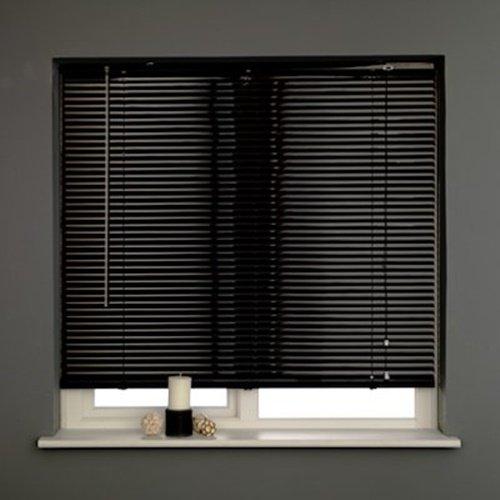 Persiana veneciana de lámina de aluminio de 25 mm, con ancho de 60 a 180 cm.Caída 160 cm, negro, 75 x 160cm
