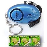 EPOSGEAR Mini Key Ring Persönliche Schlüsselalarm Angriff Rape Alarm 140dB mit Fackel (Blau) + Ersatz Batterie-Set