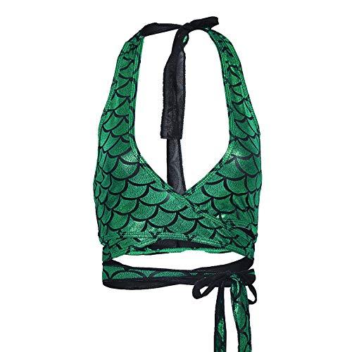 iiniim Damen Bademode Neckholder Bikini Top Meerjungfrau Fisch-Skala Strand Bikini Tankini Oberteile (Freie Größe, Grün)