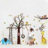 Malilove Großer Baum Tiere Wand Aufkleber Für Kinderzimmer Dekoration Monkey Eule Zoo Cartoon Diy Home Aufkleber Wandmalerei Kunst Kinder Baby Geschenk