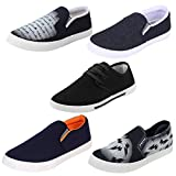 Earton Men Combo Pack of 5 Loafers & Moccasins With Casual Shoes (8 UK, Multicolor)