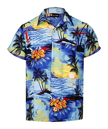 Virgin crafts camicia colletto hawaiano da uomo manica lunga con stampa colletto alla coreana stampato camicia per le vacanze estive, magentam, xl | petto: 52