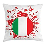 VVIANS Italian Flag Throw Pillow Cushion Cover, Soccer Player Pizza Ice Cream Silhouette National Culture Doodle, Decorative Square Accent Pillow Case, 18 X 18 Inches, Vermilion Green White