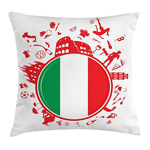 BHWYK Italian Flag Throw Pillow Cushion Cover, Soccer Player Pizza Ice Cream Silhouette National Culture Doodle, Decorative Square Accent Pillow Case, 18 X 18 Inches, Vermilion Green White National Ice Cream