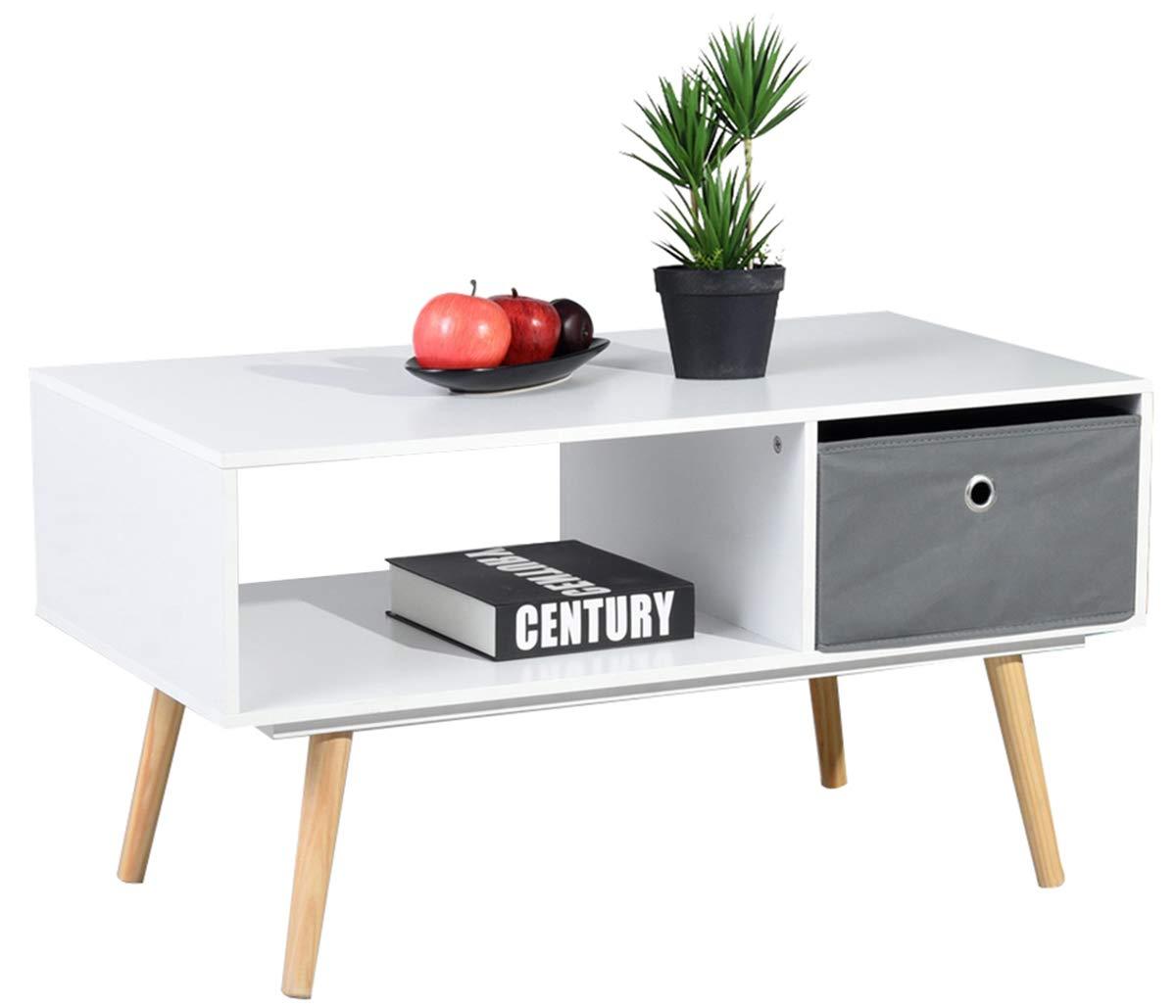 Asuuny Table Basse Moderne 2 Compartiments Avec Tiroir Pour Salon 90 X 48 X 47 Cm Blanc Deco Royale