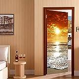 Sticker De Porte 3D Vinyle Amovible Poster Coucher De Soleil Self-Adhesive Imperméable pour Chambre Salle De Bain Living Room Cuisine Décoration 90X200Cm