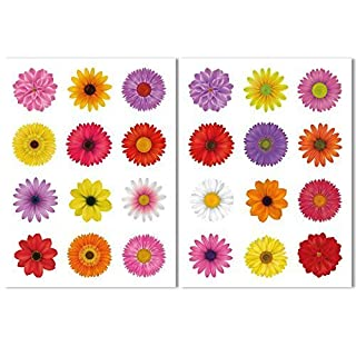 24 Beautiful Flower Window Clings by Articlings – All Different Colours - Non-adhesive Stickers Quickly Decorate and Brighten your Windows