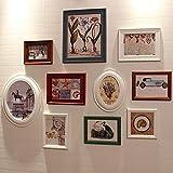 QU HUAI DONG AA Foto Wand Klassische Oval Kombination Bilderrahmen Holz Foto Wand Eingang Hintergrund Bilderrahmen Wandfläche 10 Box Home (Farbe : B)