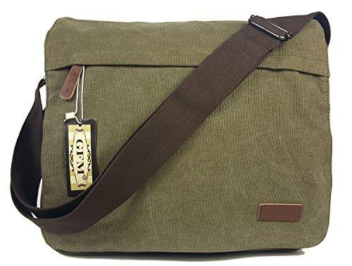Seconds GFM -  Borsa Messenger classica in tessuto ideale per la scuola, per portare in  ufficio, in viaggio - Stile casual Large - #46HR - Army
