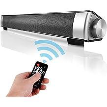 Barra de Sonido TV de Canal 2.0 de Bluetooth Inalámbrico con 3.5mm Aux Tarjeta TF LED indicador, Altavoz Estéreo de 10W con Incorporado Micrófono de Agudos Claros