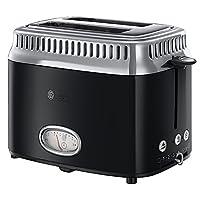 Russell Hobbs 21681-56 Retro 2 Dilim Kapasiteli Ekmek Kızartma Makinesi, 1300 W, 2 dilim, Paslanmaz Çelik, Siyah