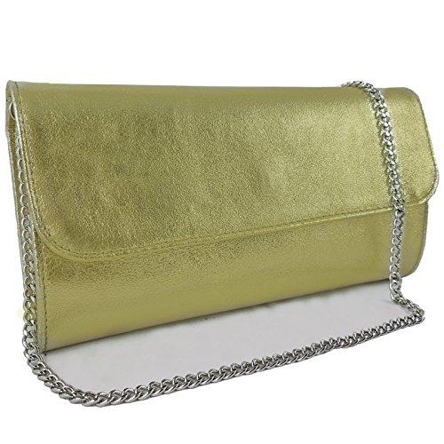 Freyday Echtleder Damen Clutch Tasche Abendtasche Muster Metallic 25x15cm (Gold Metallic)