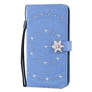 Homikon PU Leder Hülle Retro Mandala Blume Schutzhülle Brieftasche Bookstyle Glitzer Strass Diamant Handyhülle…
