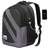 YAMTION Laptop Rucksack Herren Schulrucksack Rucksack Daypack mit USB-Ladeanschluss und 15,6 Zoll Laptopfach für Schule Business Wandern