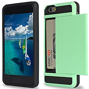 iPhone 6 plus Case,[5.5inch]by Ailun,Protective Shell-Smooth Card Slider Wallet&Flexible Shockproof Rubber Bumper&Anti-scratch PC Back Cover,Siania Retail Package[Mint Green]