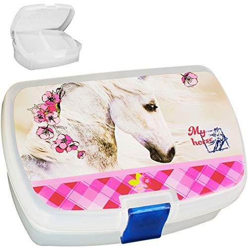 alles-meine.de GmbH 2 Stück_ Lunchboxen / Brotdosen -  Pferd & Blumen  - BPA frei - mit Einsatz / herausnehmbaren Fach - Brotbüchse Küche Essen - Mädchen Pferde / Tiere Haustie..