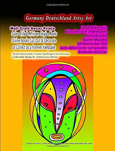 GERMANY DEUTSCHLAND Spaß dekorativ künstlerisch interessant Kunstdrucke bunte Masken Afrikanischer Stil zum dekorieren verwenden Andenkenbücher: ... Collectible Books by Artist Grace Divine (Spa-ton-maske)