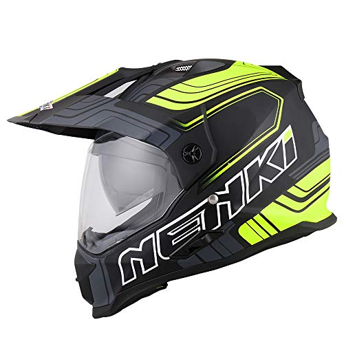 NENKI Casco Enduro Moto NK-313 ECE Aprobado (Medium, Negro Amarillo Mate)