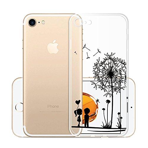 Custodia Cover Per Apple iPhone 8 / iPhone 7, WenJie Arcobaleno Unicorn Trasparente Silicone Sottile Back Case Molle di TPU Trasparente per Apple iPhone 8 / iPhone 7 Q11